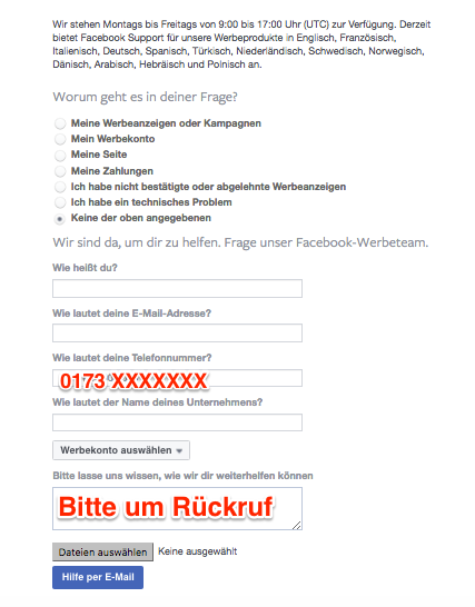 Facebook Support anrufen - So gehts