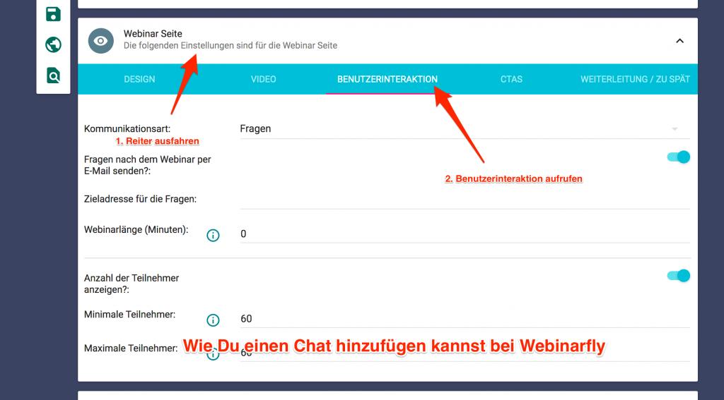 Webinarfly Chat hinzufügen
