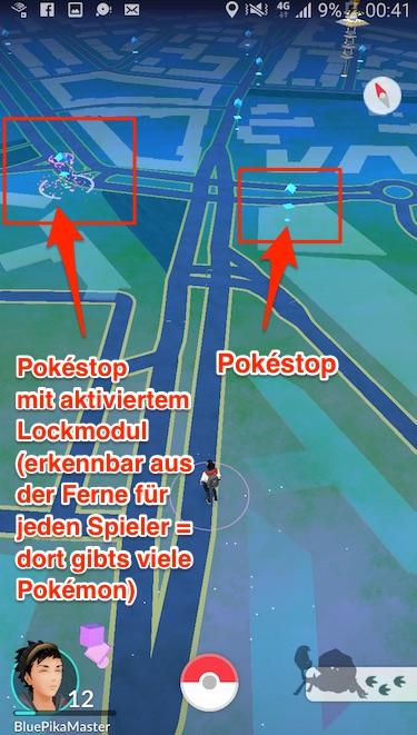 Pokémon Go - Pokéstop mit aktiviertem Lockmodul
