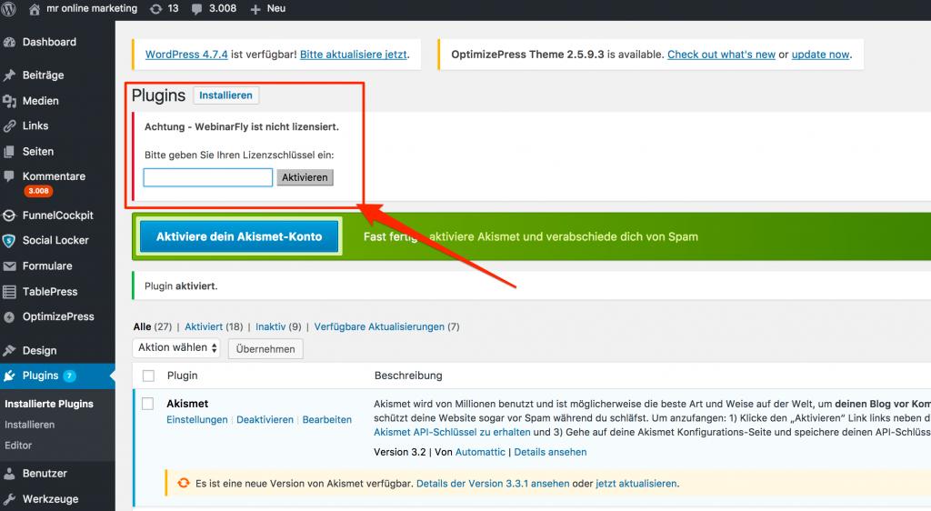 Webinarfly Lizenz aktivieren